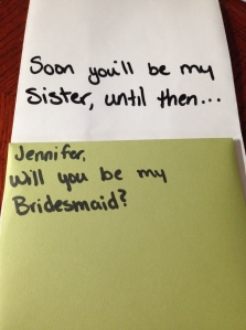 Bridesmaid ask- sister in law